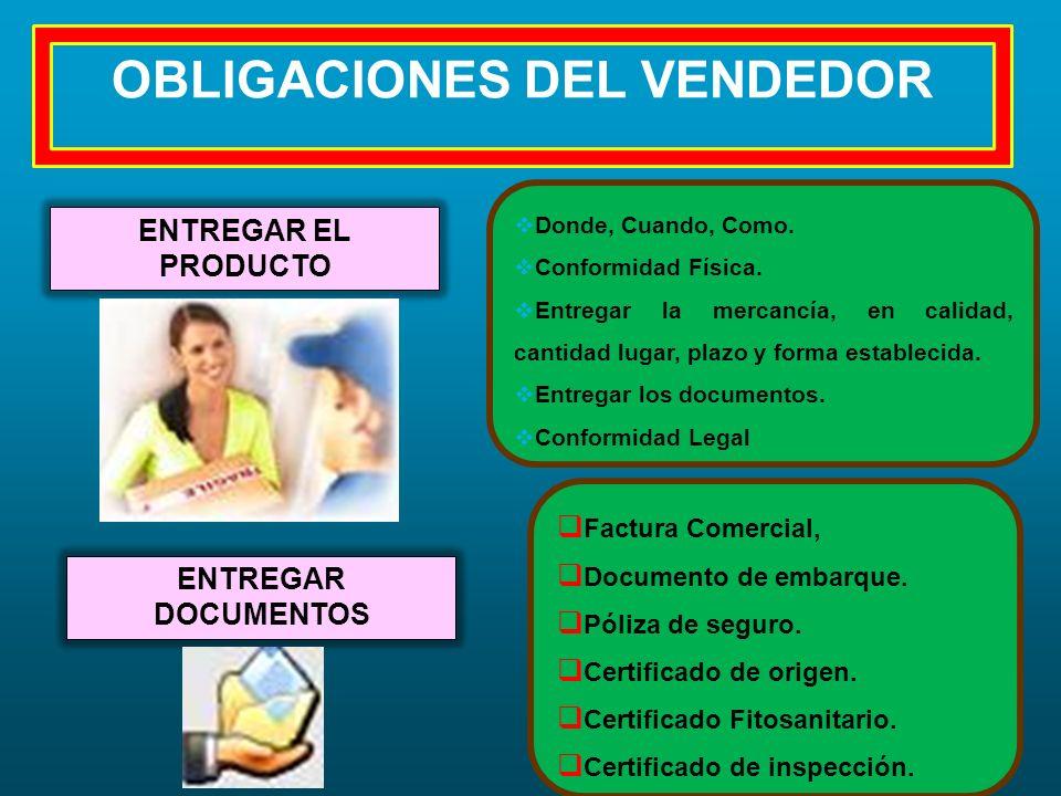 OBLIGACIONES DEL VENDEDOR ENTREGAR EL PRODUCTO Donde, Cuando, Como. Conformidad Física. Entregar la mercancía, en calidad, cantidad lugar, plazo y for