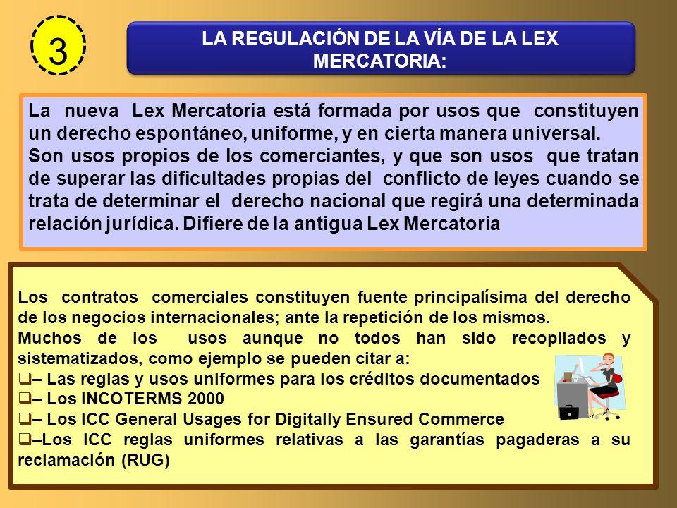 3 LA REGULACIÓN DE LA VÍA DE LA LEX MERCATORIA: La nueva Lex Mercatoria está formada por usos que constituyen un derecho espontáneo, uniforme, y en ci