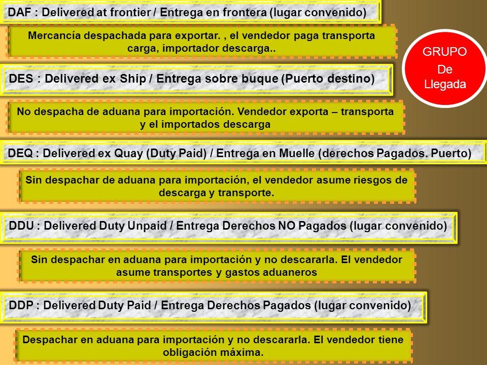Mercancía despachada para exportar., el vendedor paga transporta carga, importador descarga.. DES : Delivered ex Ship / Entrega sobre buque (Puerto de