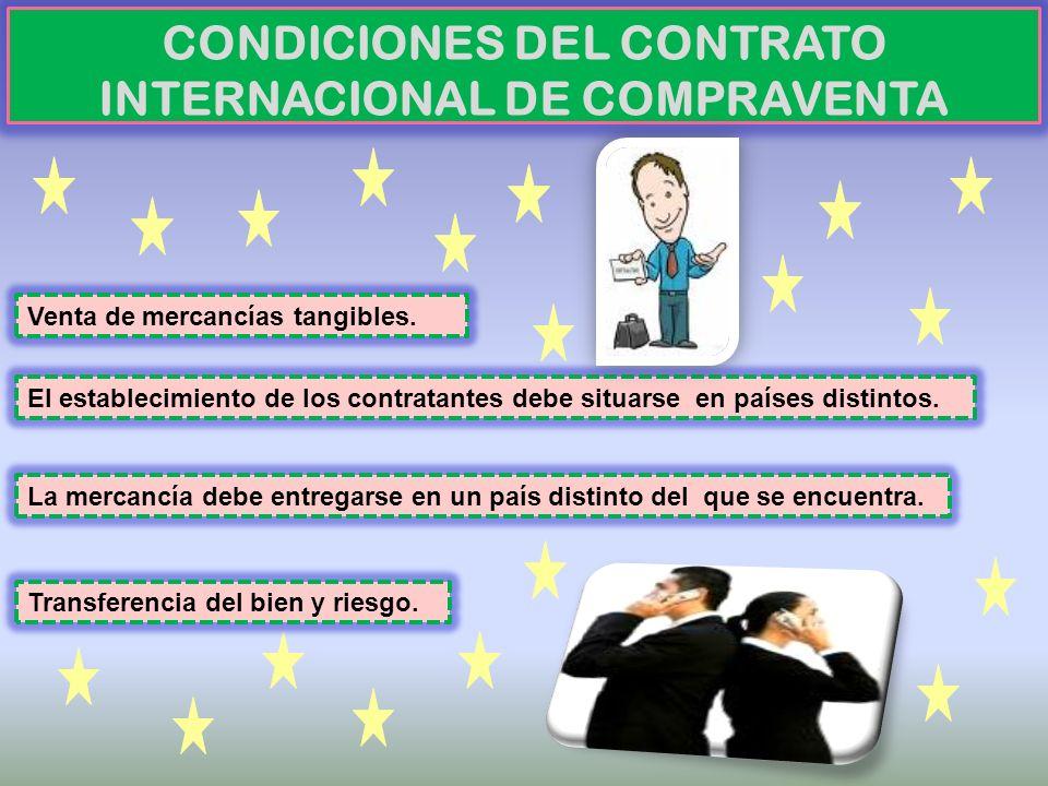 CONDICIONES DEL CONTRATO INTERNACIONAL DE COMPRAVENTA Venta de mercancías tangibles. El establecimiento de los contratantes debe situarse en países di