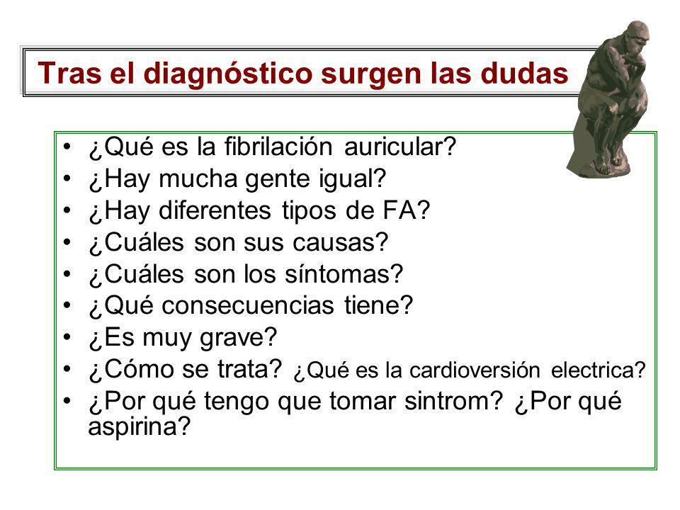 Tras el diagnóstico surgen las dudas ¿Qué es la fibrilación auricular? ¿Hay mucha gente igual? ¿Hay diferentes tipos de FA? ¿Cuáles son sus causas? ¿C