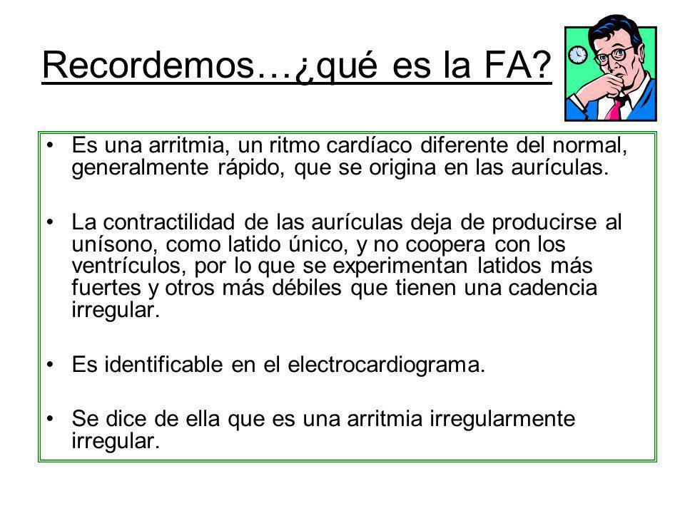 Recordemos…¿qué es la FA? Es una arritmia, un ritmo cardíaco diferente del normal, generalmente rápido, que se origina en las aurículas. La contractil