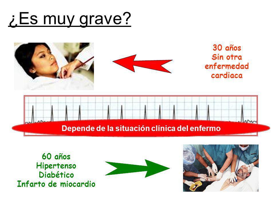 ¿Es muy grave? 60 años Hipertenso Diabético Infarto de miocardio 30 años Sin otra enfermedad cardiaca Depende de la situación clínica del enfermo