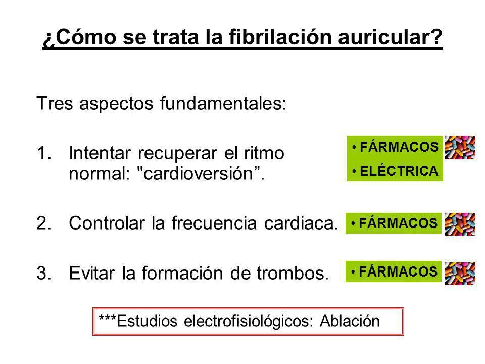 ¿Cómo se trata la fibrilación auricular? Tres aspectos fundamentales: 1.Intentar recuperar el ritmo normal: