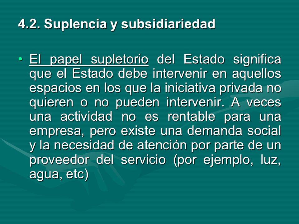 4.2. Suplencia y subsidiariedad El papel supletorio del Estado significa que el Estado debe intervenir en aquellos espacios en los que la iniciativa p
