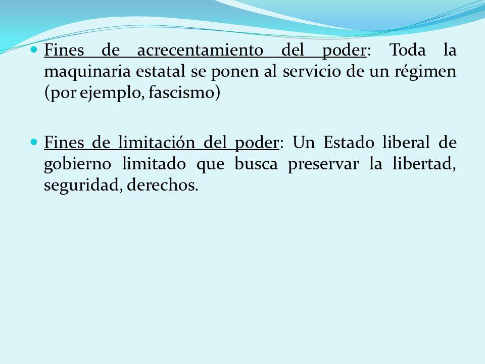 Fines de acrecentamiento del poder: Toda la maquinaria estatal se ponen al servicio de un régimen (por ejemplo, fascismo) Fines de limitación del pode
