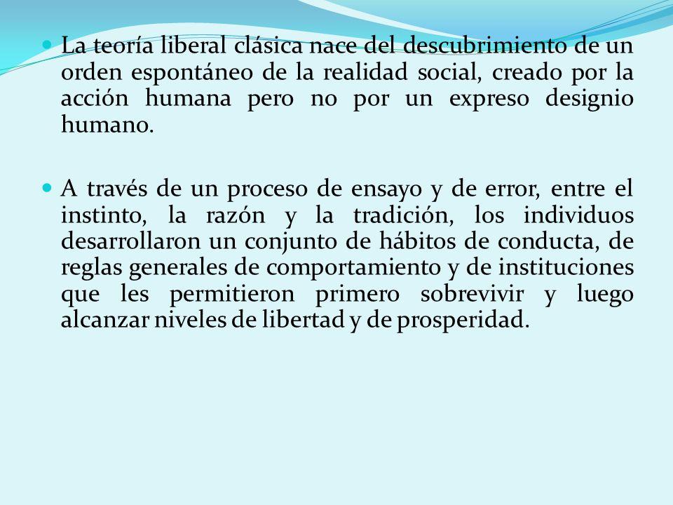 La teoría liberal clásica nace del descubrimiento de un orden espontáneo de la realidad social, creado por la acción humana pero no por un expreso des