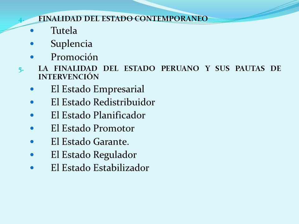 4. FINALIDAD DEL ESTADO CONTEMPORANEO Tutela Suplencia Promoción 5. LA FINALIDAD DEL ESTADO PERUANO Y SUS PAUTAS DE INTERVENCIÓN El Estado Empresarial
