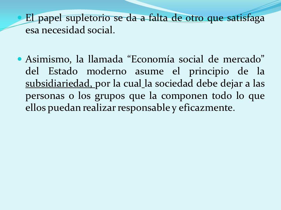 El papel supletorio se da a falta de otro que satisfaga esa necesidad social. Asimismo, la llamada Economía social de mercado del Estado moderno asume