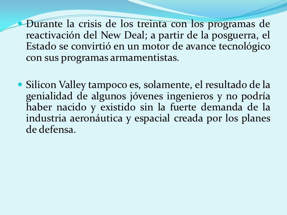 Durante la crisis de los treinta con los programas de reactivación del New Deal; a partir de la posguerra, el Estado se convirtió en un motor de avanc