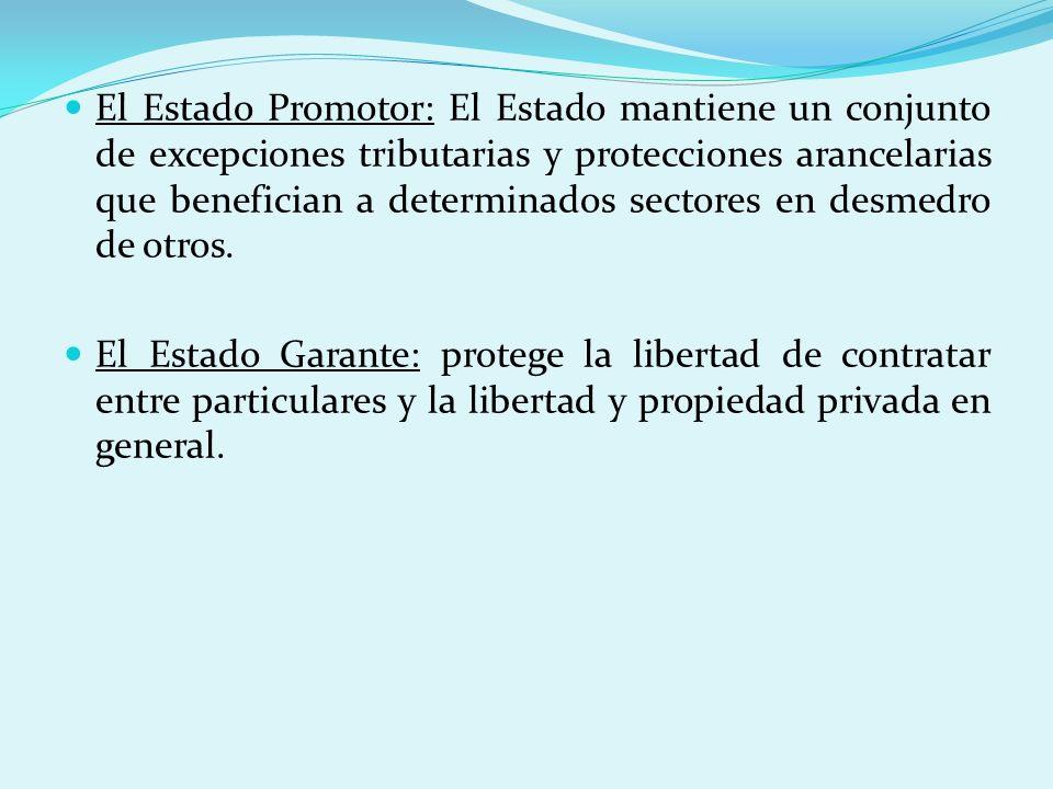 El Estado Promotor: El Estado mantiene un conjunto de excepciones tributarias y protecciones arancelarias que benefician a determinados sectores en de