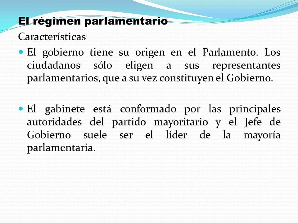 El régimen parlamentario Características El gobierno tiene su origen en el Parlamento. Los ciudadanos sólo eligen a sus representantes parlamentarios,