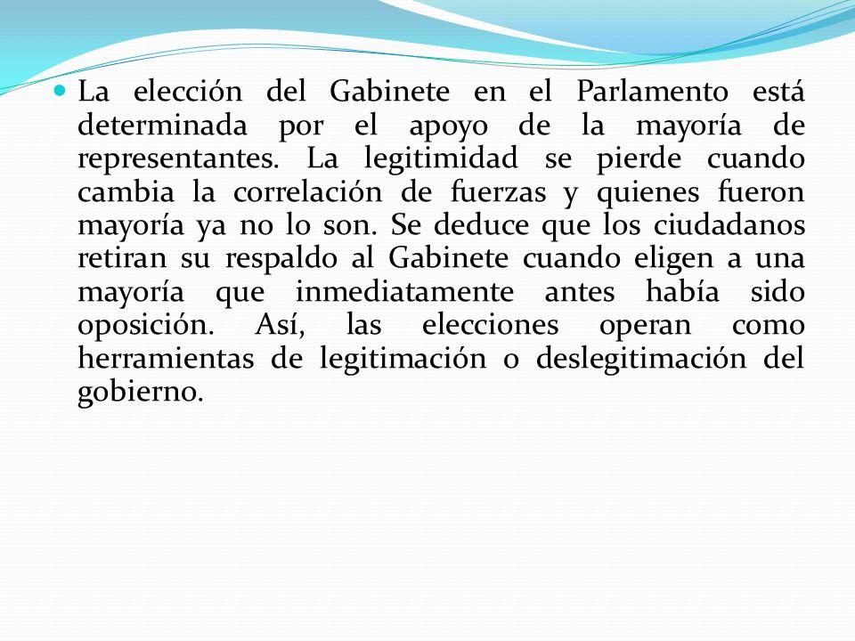 La elección del Gabinete en el Parlamento está determinada por el apoyo de la mayoría de representantes. La legitimidad se pierde cuando cambia la cor