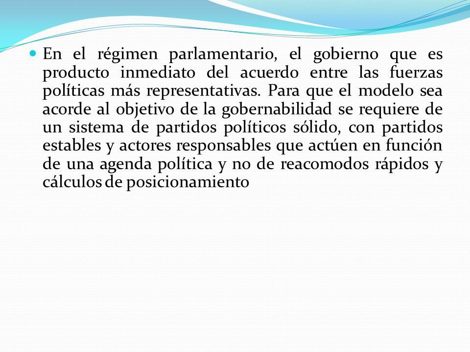 En el régimen parlamentario, el gobierno que es producto inmediato del acuerdo entre las fuerzas políticas más representativas. Para que el modelo sea