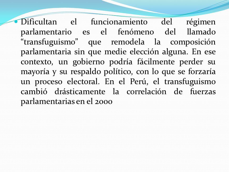 Dificultan el funcionamiento del régimen parlamentario es el fenómeno del llamado transfuguismo que remodela la composición parlamentaria sin que medi