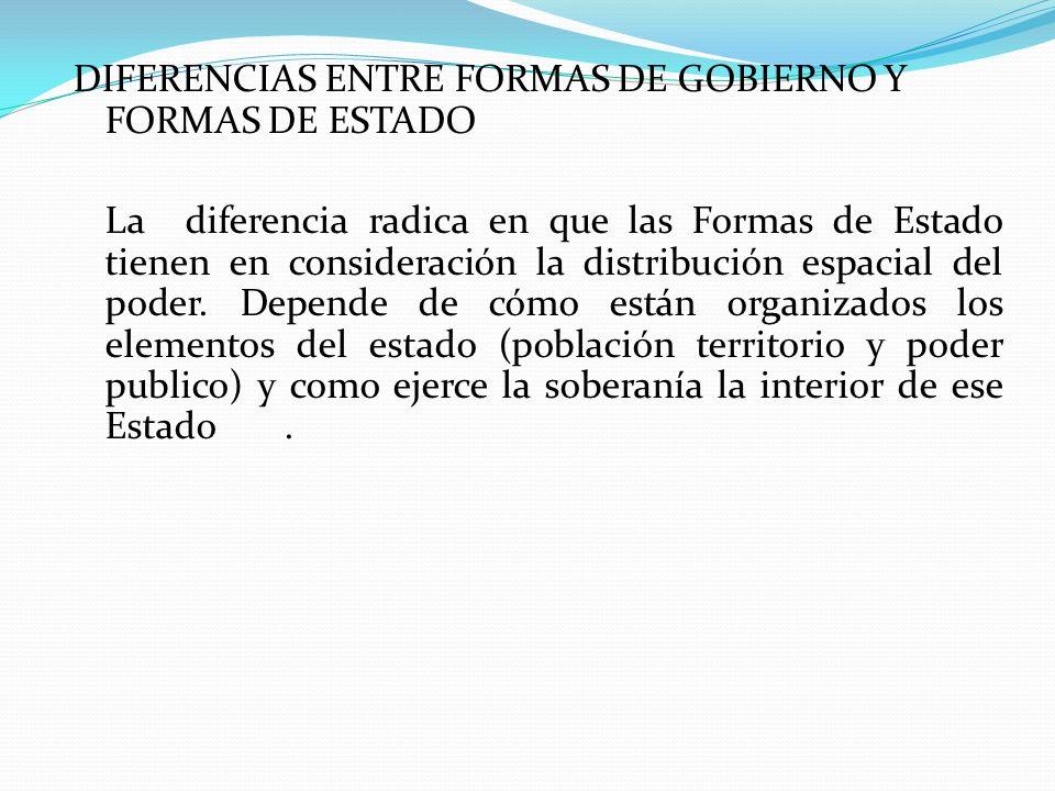 DIFERENCIAS ENTRE FORMAS DE GOBIERNO Y FORMAS DE ESTADO La diferencia radica en que las Formas de Estado tienen en consideración la distribución espac