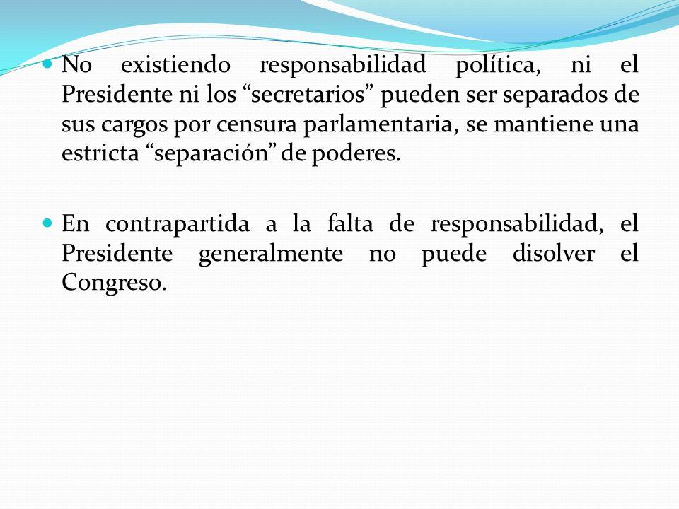 No existiendo responsabilidad política, ni el Presidente ni los secretarios pueden ser separados de sus cargos por censura parlamentaria, se mantiene