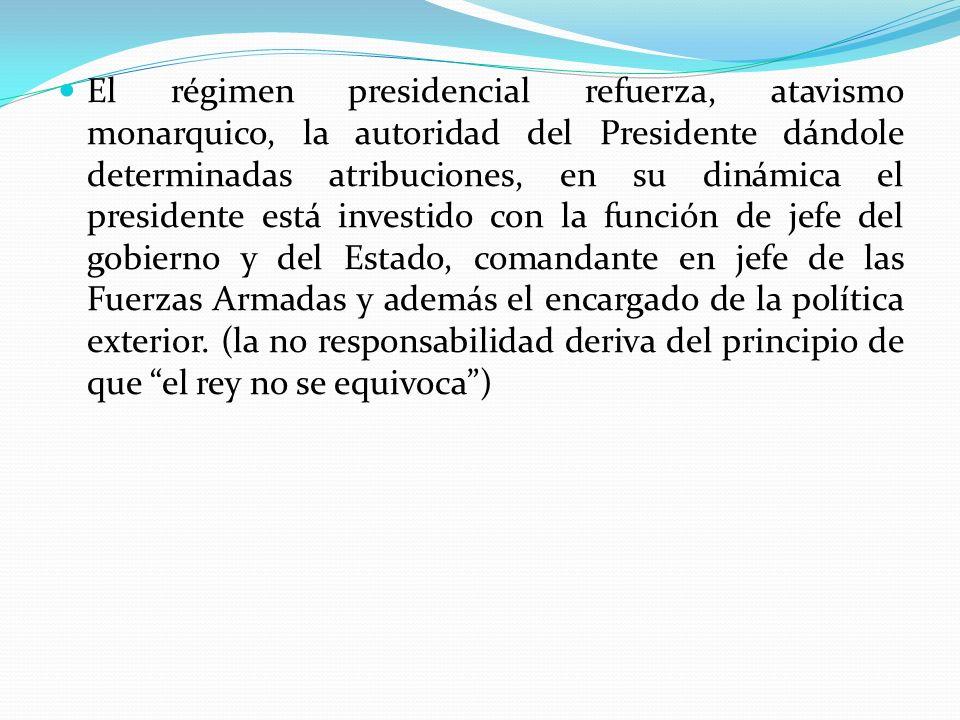 El régimen presidencial refuerza, atavismo monarquico, la autoridad del Presidente dándole determinadas atribuciones, en su dinámica el presidente est