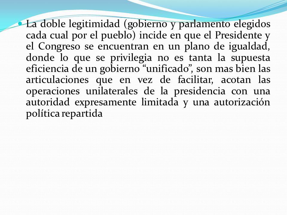 La doble legitimidad (gobierno y parlamento elegidos cada cual por el pueblo) incide en que el Presidente y el Congreso se encuentran en un plano de i