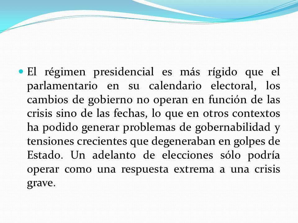 El régimen presidencial es más rígido que el parlamentario en su calendario electoral, los cambios de gobierno no operan en función de las crisis sino