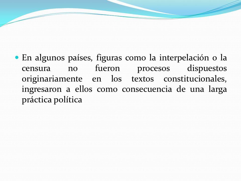 En algunos países, figuras como la interpelación o la censura no fueron procesos dispuestos originariamente en los textos constitucionales, ingresaron