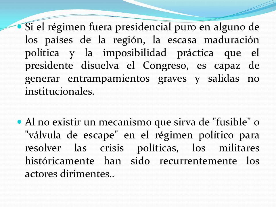 Si el régimen fuera presidencial puro en alguno de los países de la región, la escasa maduración política y la imposibilidad práctica que el president