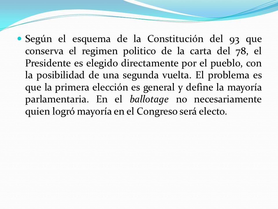 Según el esquema de la Constitución del 93 que conserva el regimen politico de la carta del 78, el Presidente es elegido directamente por el pueblo, c