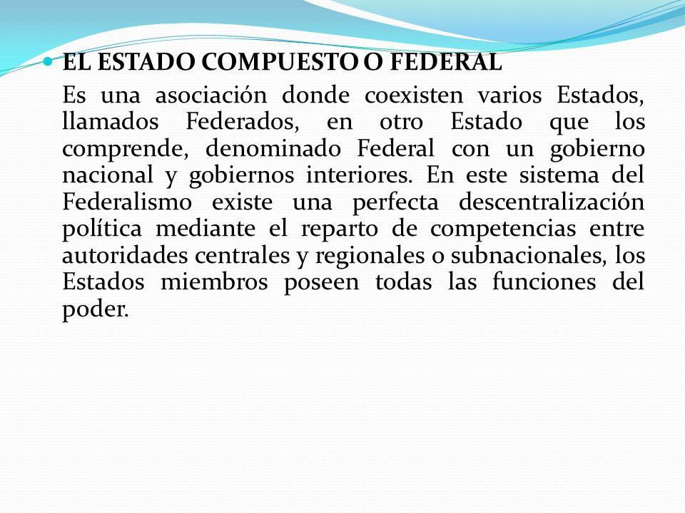 EL ESTADO COMPUESTO O FEDERAL Es una asociación donde coexisten varios Estados, llamados Federados, en otro Estado que los comprende, denominado Feder