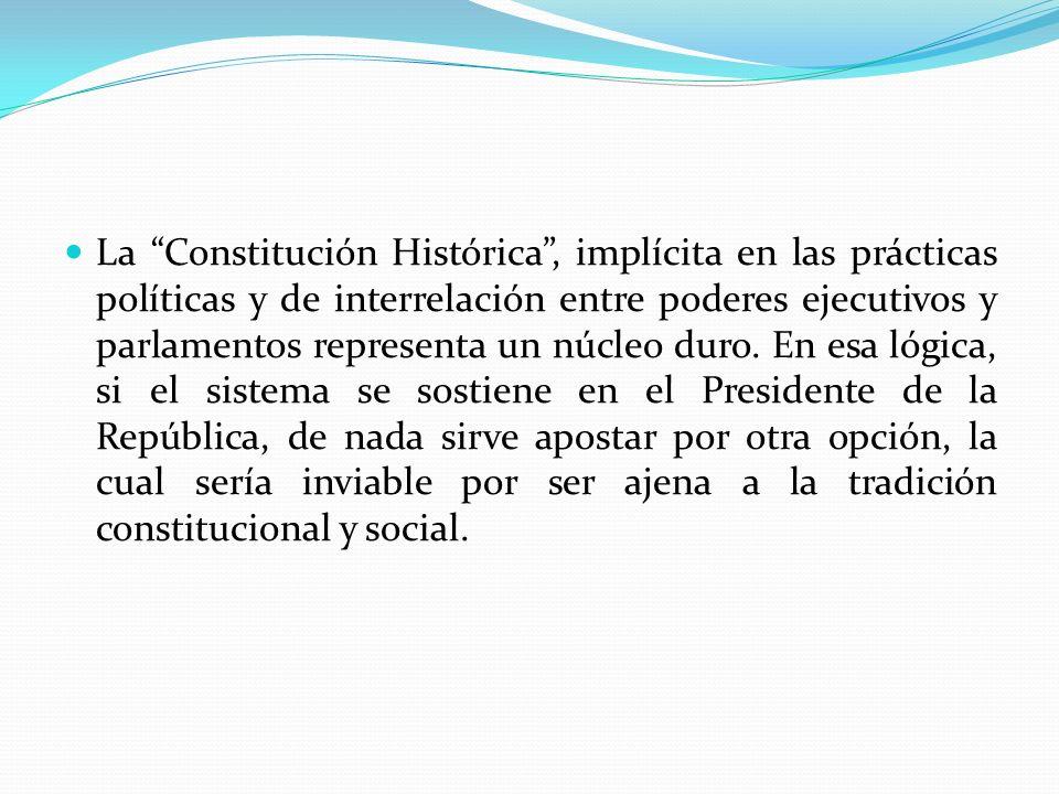 La Constitución Histórica, implícita en las prácticas políticas y de interrelación entre poderes ejecutivos y parlamentos representa un núcleo duro. E