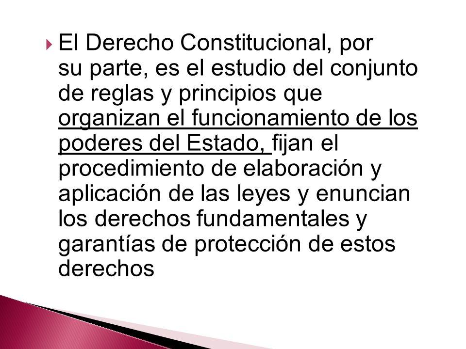 El Derecho Constitucional, por su parte, es el estudio del conjunto de reglas y principios que organizan el funcionamiento de los poderes del Estado,