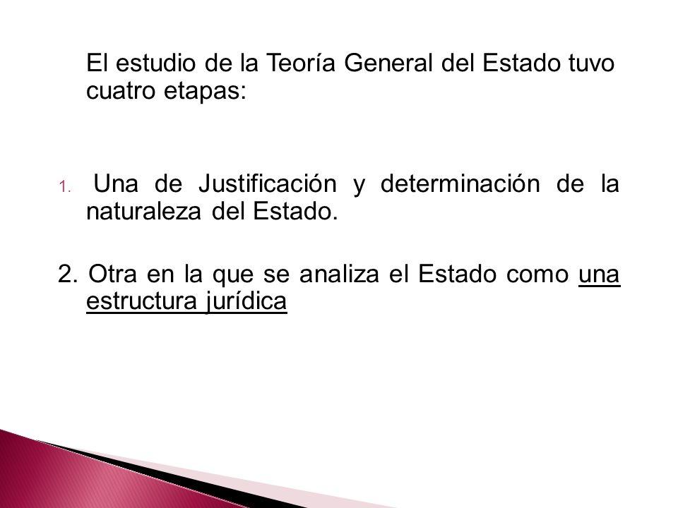 El estudio de la Teoría General del Estado tuvo cuatro etapas: 1. Una de Justificación y determinación de la naturaleza del Estado. 2. Otra en la que