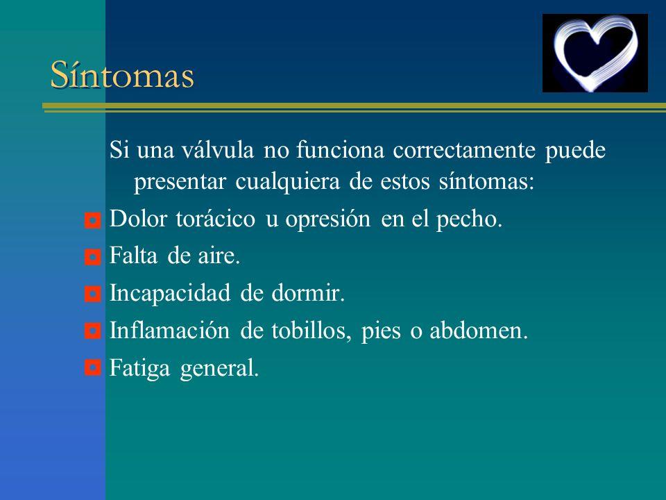 Síntomas Si una válvula no funciona correctamente puede presentar cualquiera de estos síntomas: Dolor torácico u opresión en el pecho. Falta de aire.