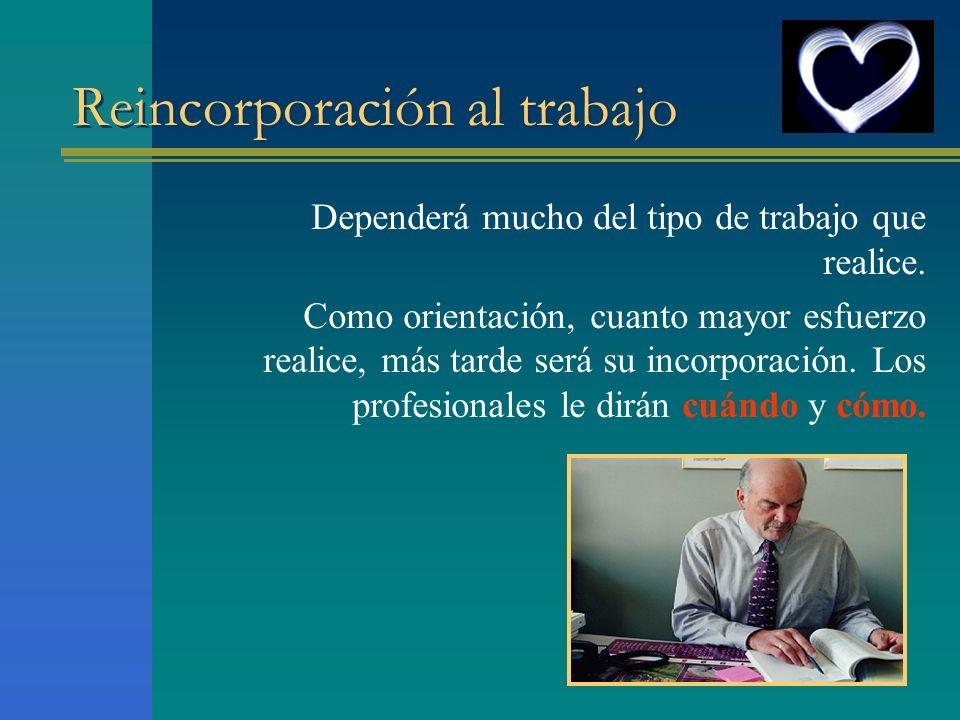 Reincorporación al trabajo Dependerá mucho del tipo de trabajo que realice. Como orientación, cuanto mayor esfuerzo realice, más tarde será su incorpo