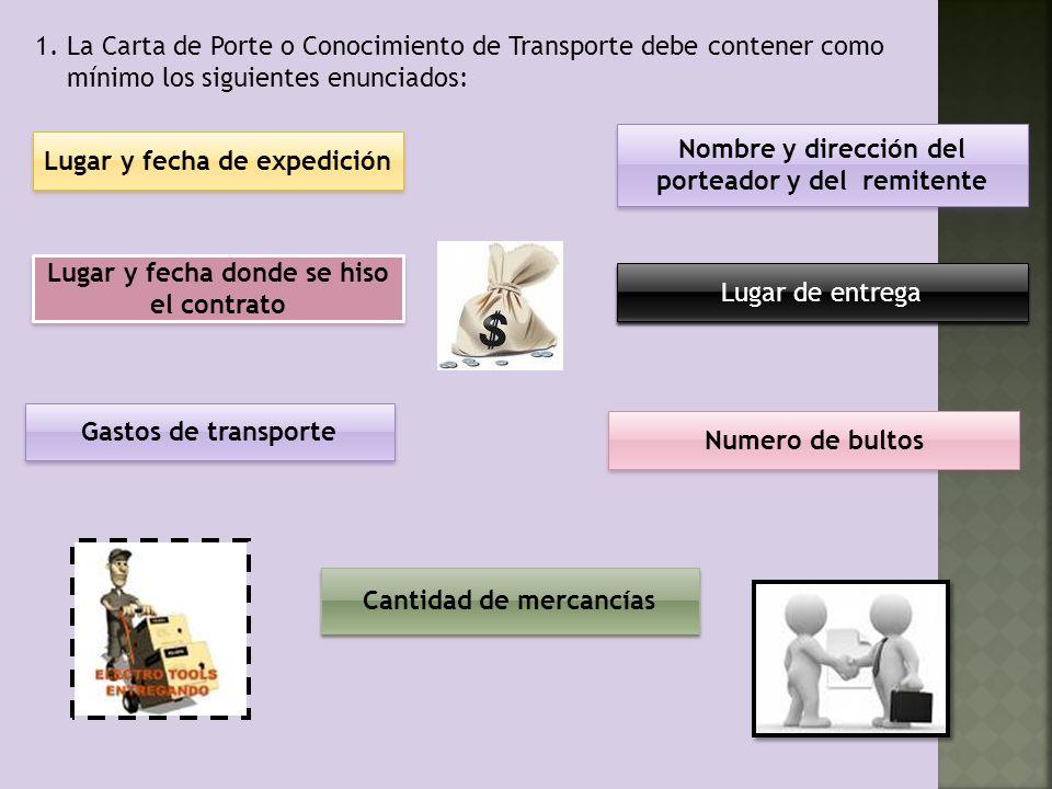 1. La Carta de Porte o Conocimiento de Transporte debe contener como mínimo los siguientes enunciados: Lugar y fecha de expedición Lugar de entrega No