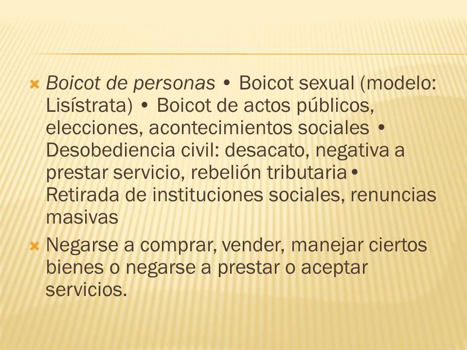 Boicot de personas Boicot sexual (modelo: Lisístrata) Boicot de actos públicos, elecciones, acontecimientos sociales Desobediencia civil: desacato, ne