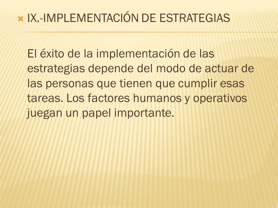 IX.-IMPLEMENTACIÓN DE ESTRATEGIAS El éxito de la implementación de las estrategias depende del modo de actuar de las personas que tienen que cumplir e