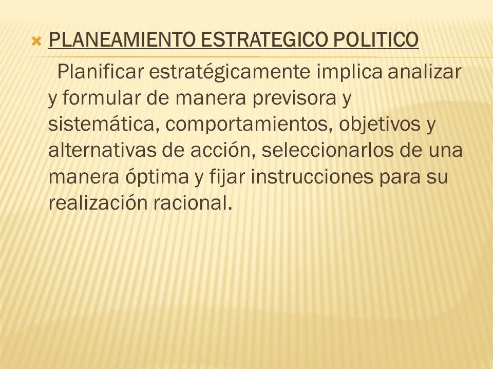 PLANEAMIENTO ESTRATEGICO POLITICO Planificar estratégicamente implica analizar y formular de manera previsora y sistemática, comportamientos, objetivo