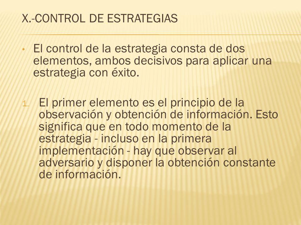 X.-CONTROL DE ESTRATEGIAS El control de la estrategia consta de dos elementos, ambos decisivos para aplicar una estrategia con éxito. 1. El primer ele