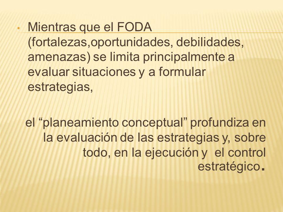 Mientras que el FODA (fortalezas,oportunidades, debilidades, amenazas) se limita principalmente a evaluar situaciones y a formular estrategias, el pla