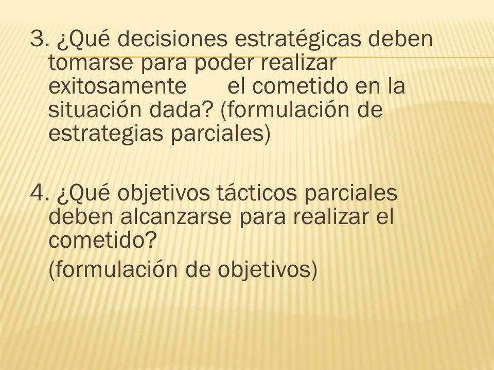 3. ¿Qué decisiones estratégicas deben tomarse para poder realizar exitosamente el cometido en la situación dada? (formulación de estrategias parciales