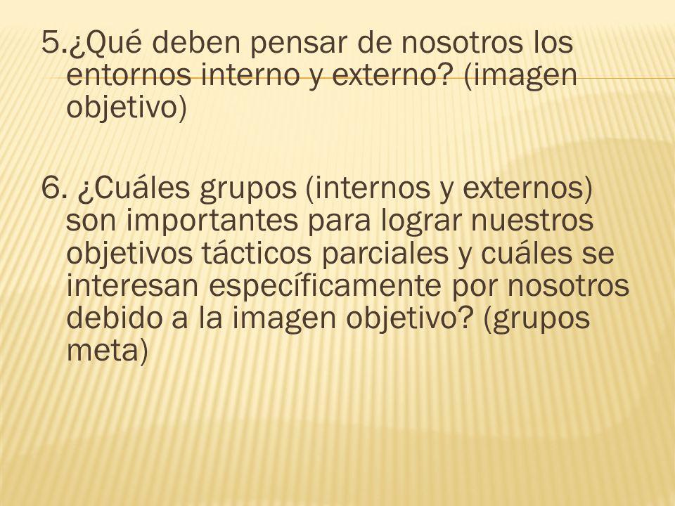 5.¿Qué deben pensar de nosotros los entornos interno y externo? (imagen objetivo) 6. ¿Cuáles grupos (internos y externos) son importantes para lograr