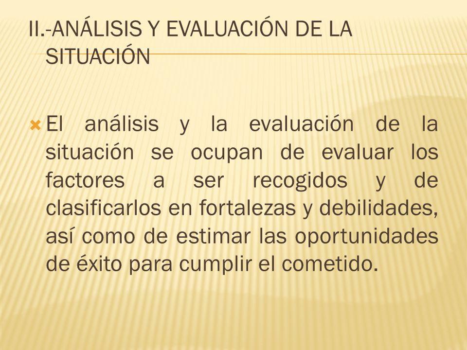 II.-ANÁLISIS Y EVALUACIÓN DE LA SITUACIÓN El análisis y la evaluación de la situación se ocupan de evaluar los factores a ser recogidos y de clasifica