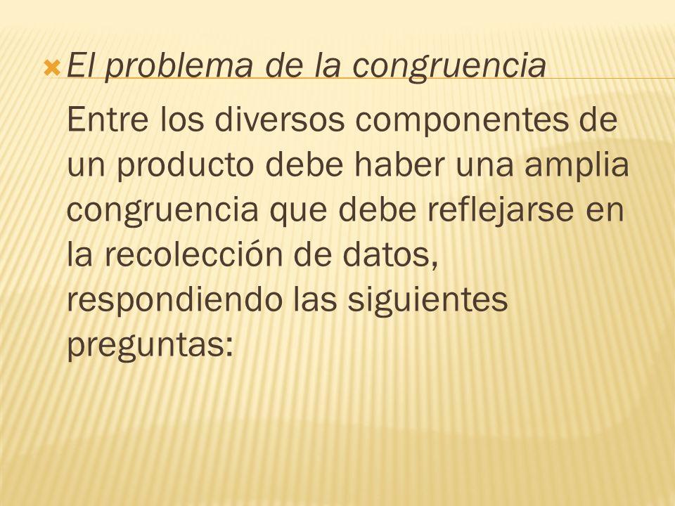 El problema de la congruencia Entre los diversos componentes de un producto debe haber una amplia congruencia que debe reflejarse en la recolección de