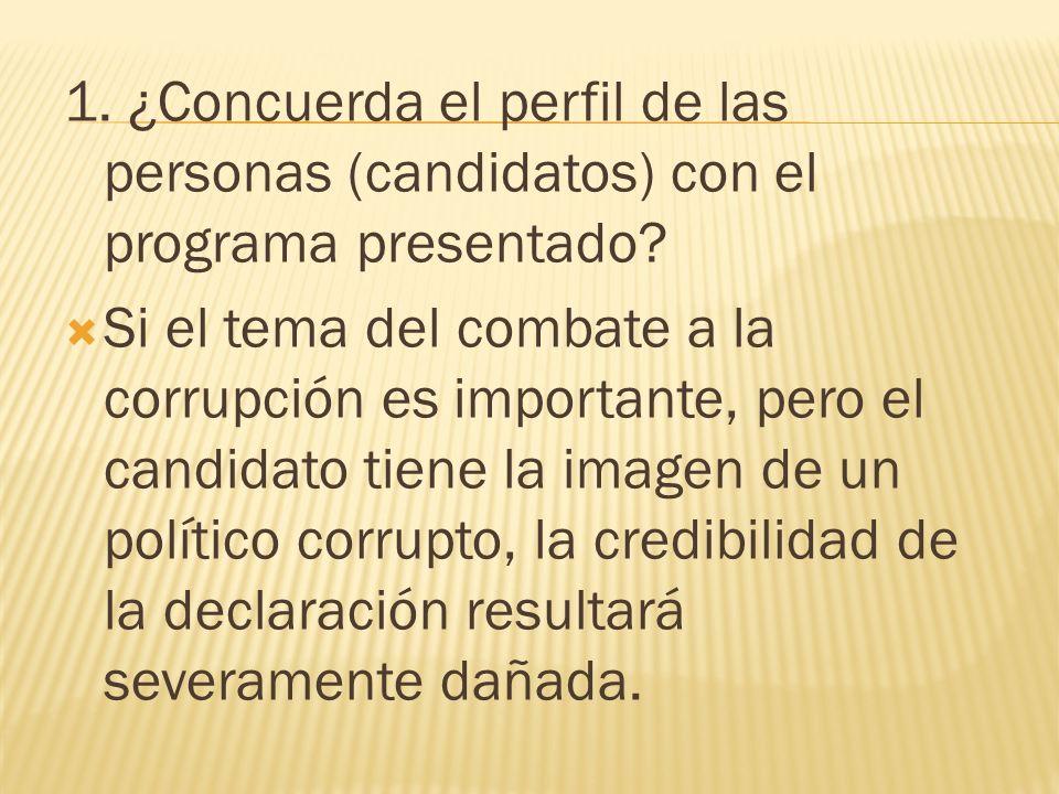 1. ¿Concuerda el perfil de las personas (candidatos) con el programa presentado? Si el tema del combate a la corrupción es importante, pero el candida
