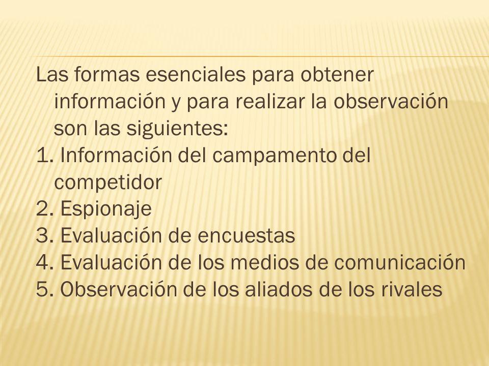 Las formas esenciales para obtener información y para realizar la observación son las siguientes: 1. Información del campamento del competidor 2. Espi