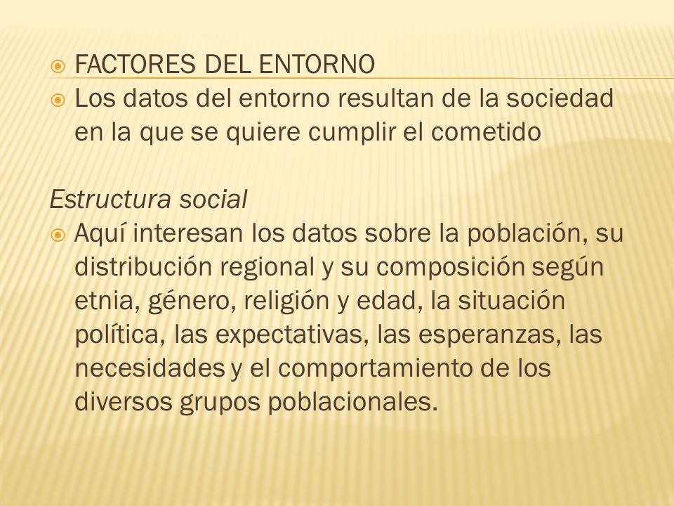 FACTORES DEL ENTORNO Los datos del entorno resultan de la sociedad en la que se quiere cumplir el cometido Estructura social Aquí interesan los datos
