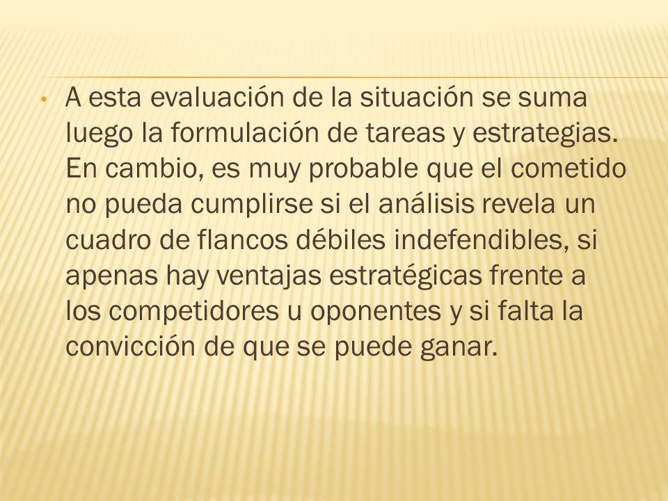 A esta evaluación de la situación se suma luego la formulación de tareas y estrategias. En cambio, es muy probable que el cometido no pueda cumplirse