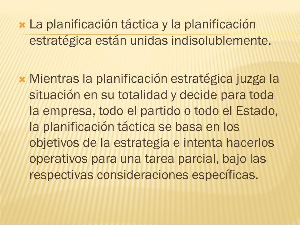 La planificación táctica y la planificación estratégica están unidas indisolublemente. Mientras la planificación estratégica juzga la situación en su