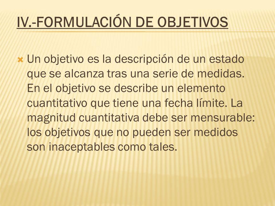 IV.-FORMULACIÓN DE OBJETIVOS Un objetivo es la descripción de un estado que se alcanza tras una serie de medidas. En el objetivo se describe un elemen