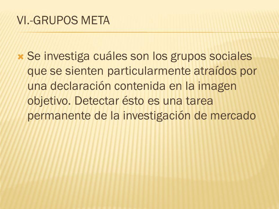 VI.-GRUPOS META Se investiga cuáles son los grupos sociales que se sienten particularmente atraídos por una declaración contenida en la imagen objetiv